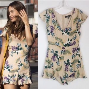 For Love And Lemons Tropical Palm Print Romper